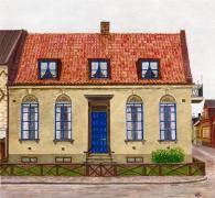 Blå boden målning